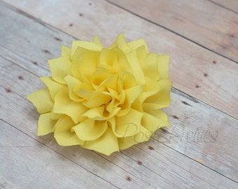 Yellow Flower Hair Clip - Lotus Blossom - With or Without Rhinestone Center