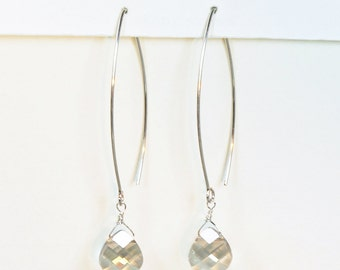 Long Crystal Earrings, Long Teardrop Earring, Bridesmaid Earrings, Silver Long Earrings, Long Dangle Earrings