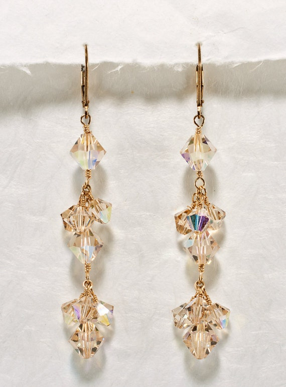 Champagne crystal earrings bridal wedding earrings long for Jewelry for champagne wedding dress