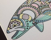 """Limited Edition Zentangle Rainbow Trout Gicleé Print 8.5""""x11"""" Archival Matted to 11""""x14"""""""