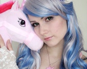 UNICORN head on pastel pink glitter laser cut necklace