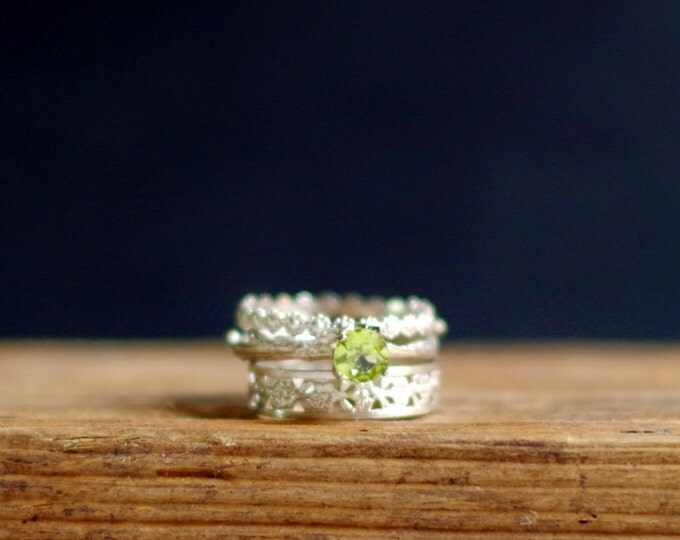 Green  Silver Stack Rings Peridot Floral Ring Gemstone Ring Botanical Jewelry August birthstone