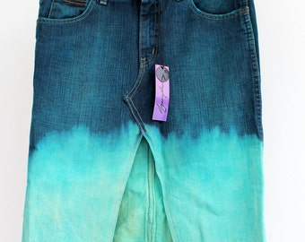 SALE 30% Off Agoraphobix Shocking Turquoise Upcycled denim skirt bleach dip dye ombre | pencil skirt