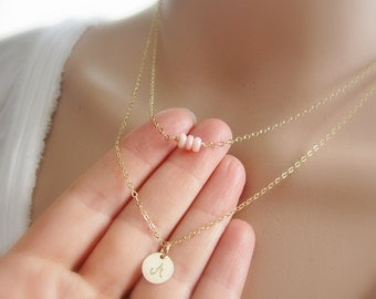 Layered initial necklace Birthstone necklace gold initial Rose Gold, Gold or Silver letter necklace Personalized gemstone Layering necklace