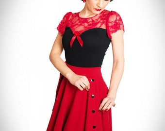 BETTY_07 6-Button circle skirt RED/BLACK