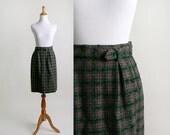 Vintage Plaid Skirt - 1960s Dark Emerald Green and Tan Classic Mini Skirt - Small XS