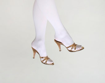 Vintage Gold Springolator Heels - Golden Rhinestone - Size US 8 N - Prom