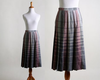 Vintage Plaid Skirt - Ombre Pleated Wool Skirt - Medium