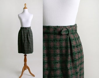 Vintage Plaid Skirt - 1960s Dark Emerald Green and Tan Classic Mini Skirt - Small XS