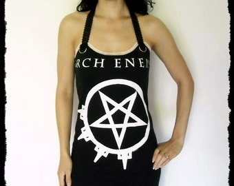 Arch Enemy shirt Death Metal Mini Dress metal clothing alternative apparel reconstructed altered band tee t-shirt rocker chic dark style