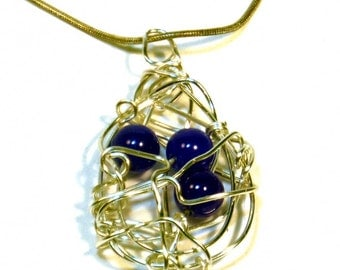 Blue Wire Wrapped Necklace - Orbit Necklace
