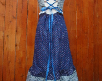 Country Dress Hippie Eyelet Lace Drawstring Backless Navy Blue Vintage Sundress Hippy Bridesmaid Patchwork Retro Designer elyse oRiGiNaLs