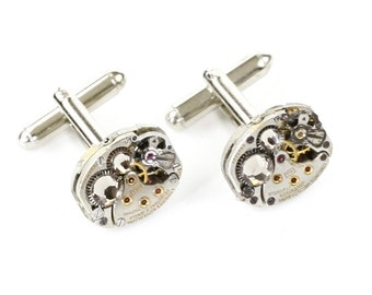 Genuine LONGINES Steampunk Silver Cufflinks with Perfectly Matched RARE Vintage Watches and Grey Swarovski Crystals by Velvet Mechanism