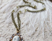White-green agate long chain pendant with frosted vintage glass beads (N-3276)