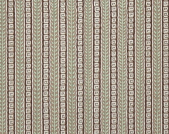 1940's Vintage Wallpaper - Brown and Green Geometric Stripe