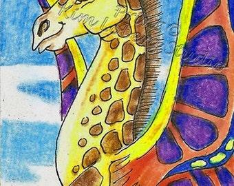 Fantasy Giraffe Butterfly Fairy insect Bug creature Zoo Africa animal ACEO mini art PRINT Kim Loberg Nebraska Artist EBSQ