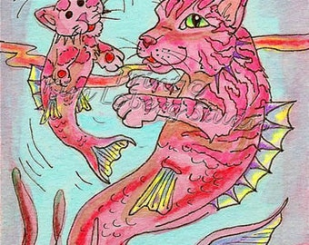 Sea Cat Kitten Mercat Merkitten Hippocampus Ocean Fantasy cat fish kitty kitten ACEO mini art PRINT Kim Loberg Nebraska Artist ebsq
