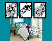 Paisley Wall Art Artwork Peacock Feather Black White Floral Design  Set of 3 Prints   Decor Bedroom Bathroom Choose Colors Three