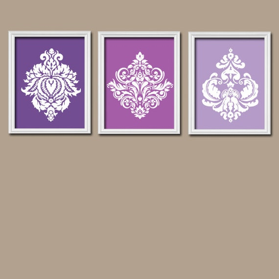 Purple Wall Decor For Bathroom : Damask purple wall art canvas shades by
