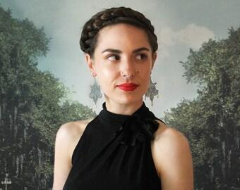 lace earrings // ELISA // pale mint and brass // dangle earrings // statement lace jewelry / bohemian long earrings