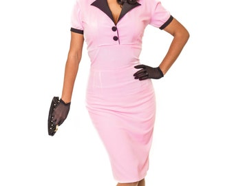 Pinup Girl Rockabilly Dress with Bow Vintage Inspired Retro Pink