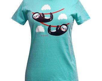 Sloth T-Shirt - Cute Sloths Aque Blue Shirt - Available in Ladies sizes S, M, L, XL