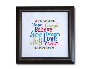 Words to Live By Cross Stitch Pattern Instant Download