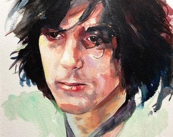 Syd Barrett portrait - original oil painting on paper
