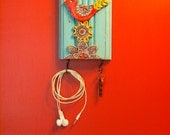 Key Hanger, Accessory Hook, Repurposed Trim Wall Art, Colorful Ceramic Tiles, Pottery, Whimsical, Red Bird, Scandinavian Folk Style Flower