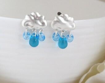 It's Raining. Matte Silver Cloud Blue Drops Earrings. Blue Teardrops Czech glass Beads Ear Jewelry. Christmas Stocking Stuffer