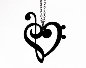 Treble & Bass Clef Heart Necklace - Laser Cut Acrylic - Music Notes