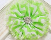 New! 2pcs Handmade soft shabby chiffon flowers--brite green/white (FB1048)
