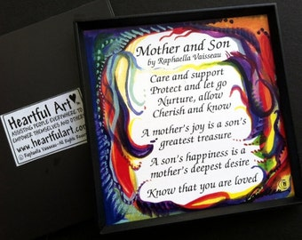 MOTHER SON MAGNET Original Poem Inspirational Quote Family Child Saying Mom Birthday Gift Home Wall Decor Heartful Art by Raphaella Vaisseau