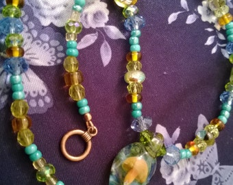 Glass Floating Mushroom Pendant Necklace