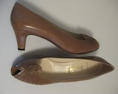 """Vintage Evins Peep Toe Shoes """"Ginger"""", Made in Italy, Taupe, """"New"""" Never Worn, Excellent Vintage Condition"""