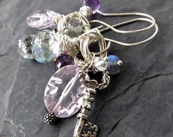 Gemstone tassel earrings in sterling silver - skeleton key charm - beaded dangle - garden party jewelry - purple amethyst, opal