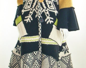 Sweater Coat, Upcycled Black & Yellow Sweater Coat, Large, (12-14-16) by Brenda Abdullah