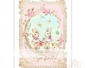 Rabbit print, nursery print, baby girl, pink roses, bunny rabbit, tea party, vintage style, pink, home decor, nursery decor, A4 print