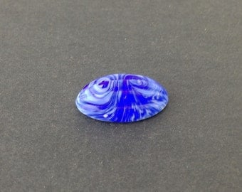 Vintage Blue White Swirled Ribbed Melon Cabochon cab162A