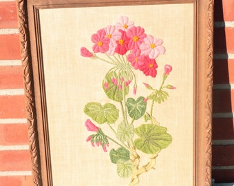 15 X 19 Vintage Botanical Needlepoint ~ Pink Violets ~ Still Life ~ Flowers ~ Green Foliage