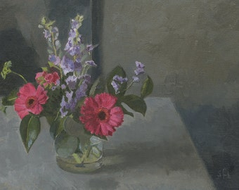 Original Still Life Floral Oil Painting -  Bouquet of Pink Gerberas