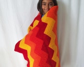 Vintage Afghan - Chevron Felted Wool Crochet - Red Orange Yellow - Fiery Warmth