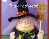 CINDER Hand Painted Halloween Witch Gourd broom fall trick treat star tinsel ghost jingle bell hp prim chick teamhaha hafair ofg