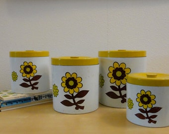 Vintage Nesting Canister Set Yellow and Brown Flower - Set of 4