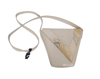 Vintage 80s Bag - 80s Shoulder Bag - Cream Leather Purse -  Snakeskin - Pocketbook - Stuart Weitzman - NOS  - Cross Body Bag Purse New Wave