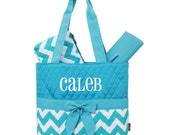 Personalized Diaper Bag Chevron Aqua White Quilted Monogrammed