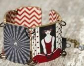 Red and Black Art Deco Link Bracelet, Art Deco Jewelry, Shrink Plastic, Art Jewelry, Red Bracelet, Black Bracelet, Art Deco Cuff Bracelet