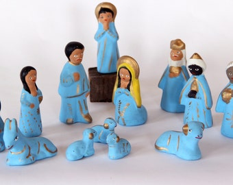 Sky Blue Ceramic Nativity Set - Thirteen Pieces - Clay - Hand painted and Gold Highlights - Mexico - Missing Baby Jesus