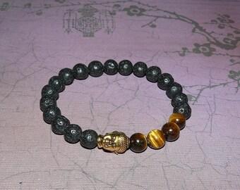 Lava Rock Beads with Tiger Eye Beads Buddha Unisex Bracelet