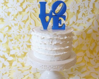 blue love cake topper ready to ship